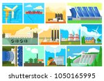types of electricity generation ... | Shutterstock .eps vector #1050165995
