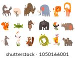Stock vector detailed flat vector set of funny animals horse sheep bison elephant lion giraffe squirrel 1050166001