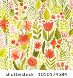 watercolor texture with flowers ... | Shutterstock . vector #1050174584
