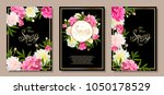 set of three floral backgrounds ... | Shutterstock .eps vector #1050178529
