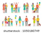 happy families with children... | Shutterstock .eps vector #1050180749