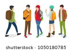 set of boys and girls with... | Shutterstock .eps vector #1050180785