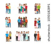 set of happy families group... | Shutterstock .eps vector #1050182891