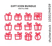 gift icon pack outline line...