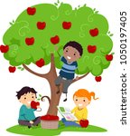 illustration of stickman kids... | Shutterstock .eps vector #1050197405