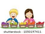 illustration of kids sorting... | Shutterstock .eps vector #1050197411