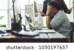 stressed employees after he... | Shutterstock . vector #1050197657