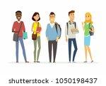 happy senior school students  ... | Shutterstock . vector #1050198437