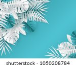 tropical paper palm  monstera... | Shutterstock .eps vector #1050208784