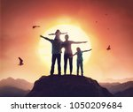 happy family at sunset. father  ... | Shutterstock . vector #1050209684