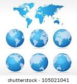 vecrot globe set | Shutterstock .eps vector #105021041