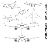 vector set of sketch airplanes. ... | Shutterstock .eps vector #1050212831
