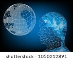 head of man polygon and world... | Shutterstock .eps vector #1050212891