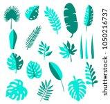 tropical leaves vector set hand ...   Shutterstock .eps vector #1050216737