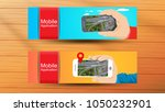 web banners with top view ...on ... | Shutterstock .eps vector #1050232901