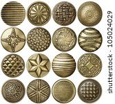 bronze sewing buttons... | Shutterstock . vector #105024029