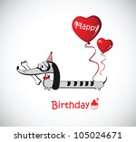 happy birthday card dog... | Shutterstock .eps vector #105024671