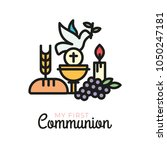 first communion symbols for a... | Shutterstock .eps vector #1050247181