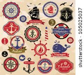 collection of vintage retro... | Shutterstock .eps vector #105025037
