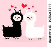 two emotional llamas love  ... | Shutterstock .eps vector #1050265844