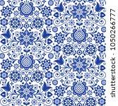 floral seamless folk art vector ... | Shutterstock .eps vector #1050266777
