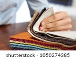sampler of fabric colors. the...   Shutterstock . vector #1050274385