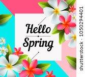 hello spring text banner ... | Shutterstock .eps vector #1050294401