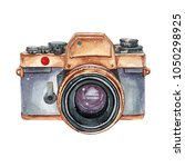 vintage retro watercolor camera.... | Shutterstock . vector #1050298925