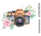 vintage retro watercolor camera.... | Shutterstock . vector #1050298934