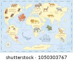 Vintage World Map With Wild...