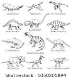 dinosaurs set  tyrannosaurus... | Shutterstock .eps vector #1050305894