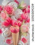 flat lay waffle sweet ice cream ... | Shutterstock . vector #1050309239
