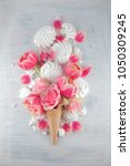 flat lay waffle sweet ice cream ... | Shutterstock . vector #1050309245
