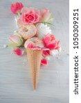 flat lay waffle sweet ice cream ... | Shutterstock . vector #1050309251