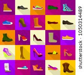 footwear shoes icons set. flat... | Shutterstock .eps vector #1050314489