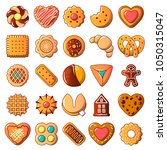 cookies biscuit icons set.... | Shutterstock .eps vector #1050315047