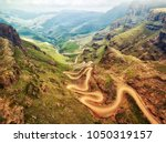 sani pass down into south africa | Shutterstock . vector #1050319157