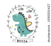 cute dino.cartoon hand drawn... | Shutterstock .eps vector #1050331427