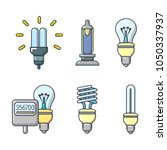 bulb icon set. cartoon set of... | Shutterstock .eps vector #1050337937