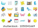 paper object icon set. cartoon... | Shutterstock .eps vector #1050341669