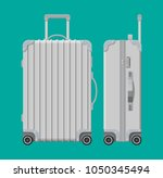 silver travel bag. plastic case.... | Shutterstock .eps vector #1050345494