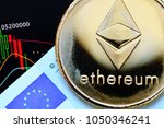 ethereum. crypto currency... | Shutterstock . vector #1050346241