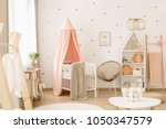 sweet  spacious nursery room... | Shutterstock . vector #1050347579