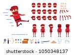 ninja in red suit creation kit. ... | Shutterstock .eps vector #1050348137