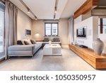 big  gray corner sofa standing... | Shutterstock . vector #1050350957