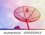 silhouette of satellite dish  a ... | Shutterstock . vector #1050353915