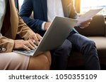 meeting in workplace concept ... | Shutterstock . vector #1050355109