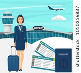travel concept with stewardess... | Shutterstock .eps vector #1050356837
