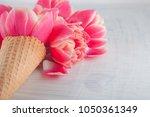 flatlay waffle sweet ice cream... | Shutterstock . vector #1050361349