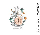 perfume bottle with flowers on... | Shutterstock .eps vector #1050374495